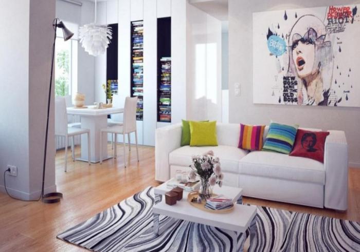 Salon-aménagement-avec-tapis-colorés-idées-gris