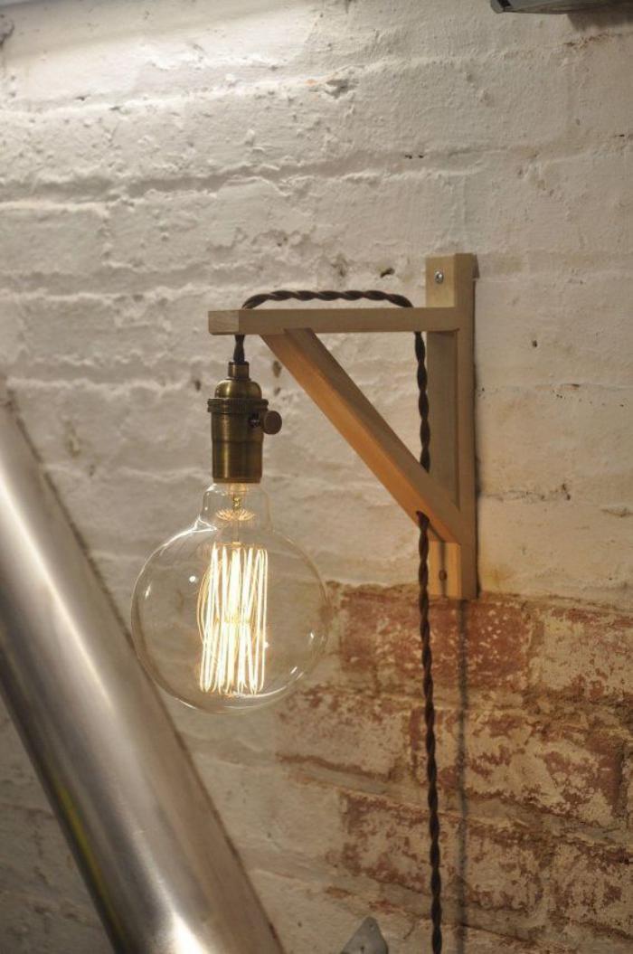 appliques-extérieures-ampoule-ronde-sur-une-épaule-en-bois