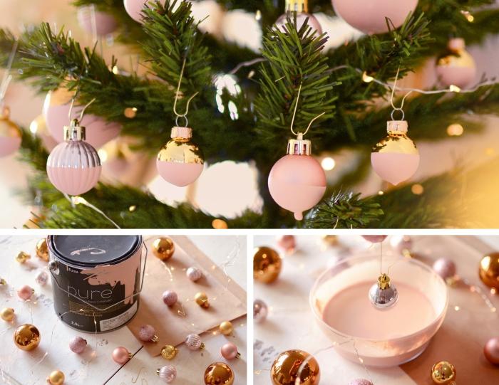 comment réaliser une decoration sapin de noel avec objets customisés, modèles de boules de Noël bicolore en rose métallisé et rose mat