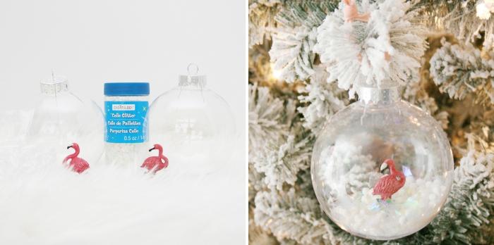 quelle deco de noel a faire soi meme, projet créatif pour Noël facile avec boule transparente et figurine flamant rose