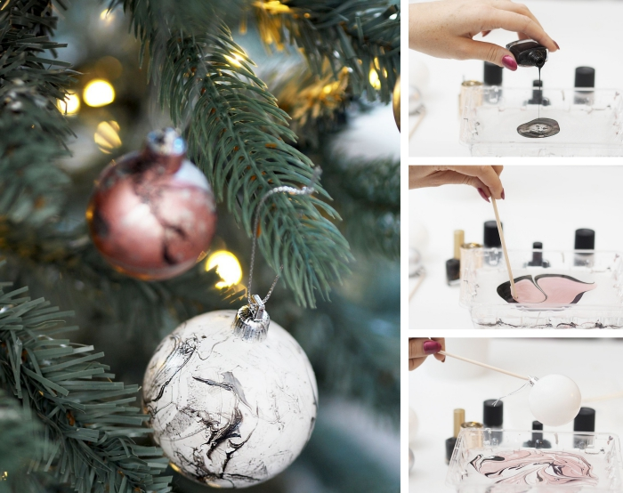 modèle de boule noel personnalisée avec vernis à ongles blanc et noir à effet marbre, pas à pas décoration ornement de Noël