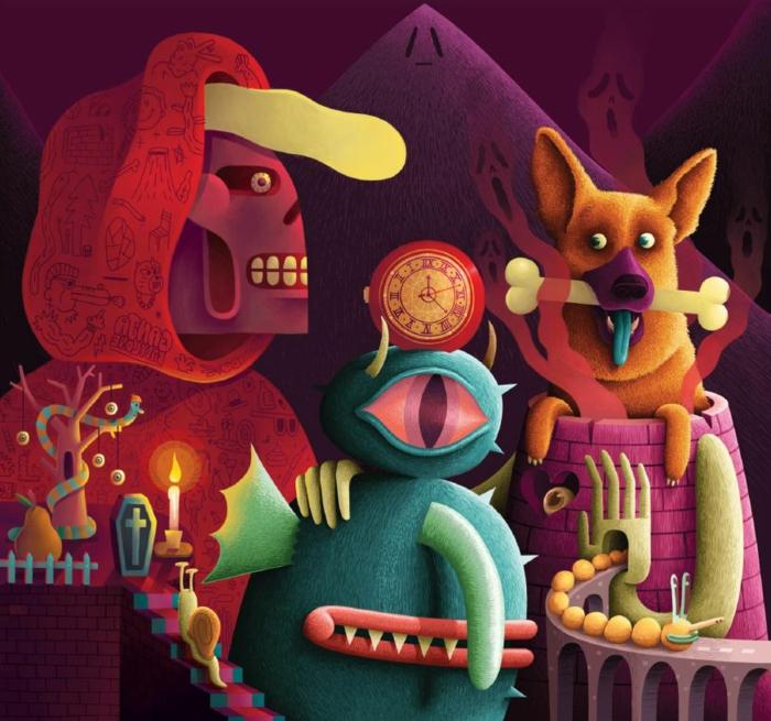 art-graphique-design-magazine-art-graphique-différent-couleurs-abstrait-art