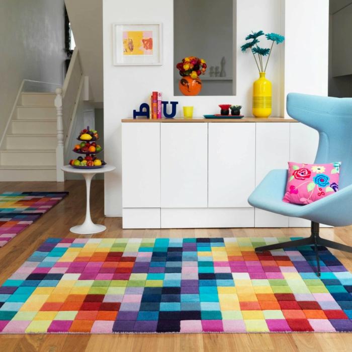 beau-design-salle-à-manger-bien-aménagée-tapis-coloré-couleurs-tapis