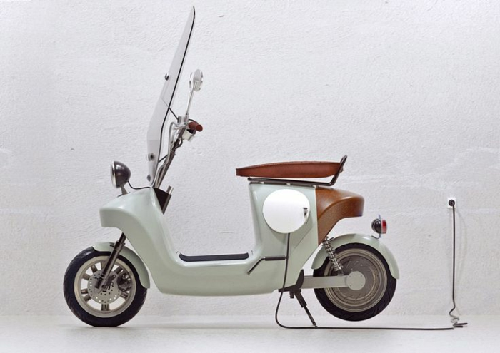 beau-photo-électrique-scooter-motor-vintage-vespa-primavera-ville-pure