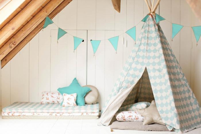 belle-enfants-tente-enfant-jouer-dedans-dans-une-tente-belle-en-bleu-et-blanc