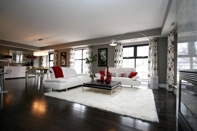 Belle d coration la maison avec le tapis shaggy blanc - Tapis de salon noir et blanc ...