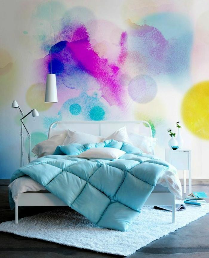 bicolore-parure-de-couette-linge-de-lit-en-lin-idée-mur-coloré