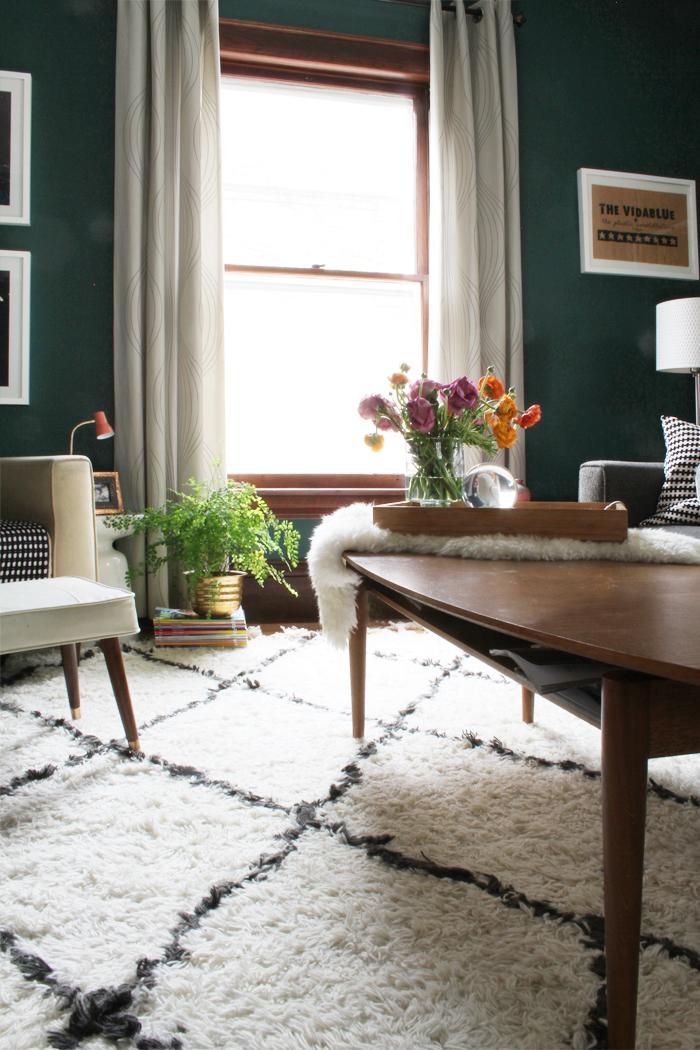 blanc-et-noir-tapis-shaggy-blanc-meubles-en-bois-idee-deco-salon
