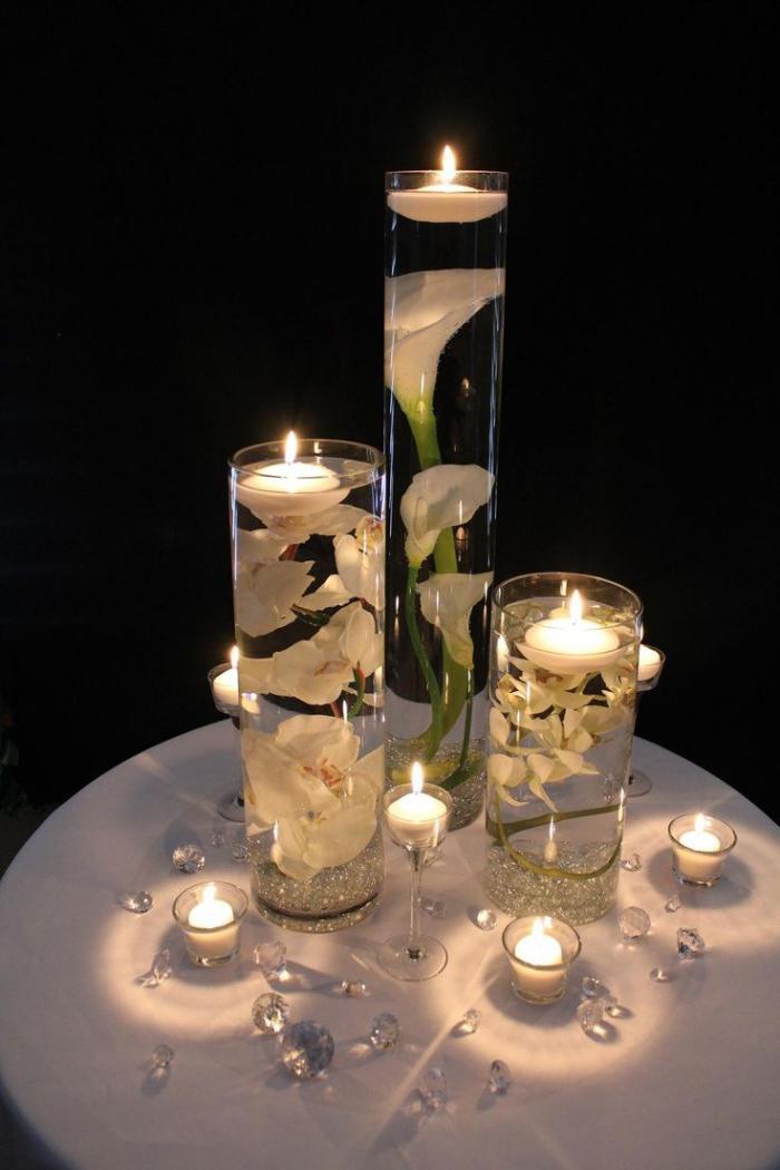 bougie-blanche-bougies-flotantes-décoration-de-table