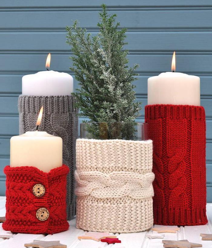 bougie-blanche-décoration-de-Noel-bougies-et-revêtement