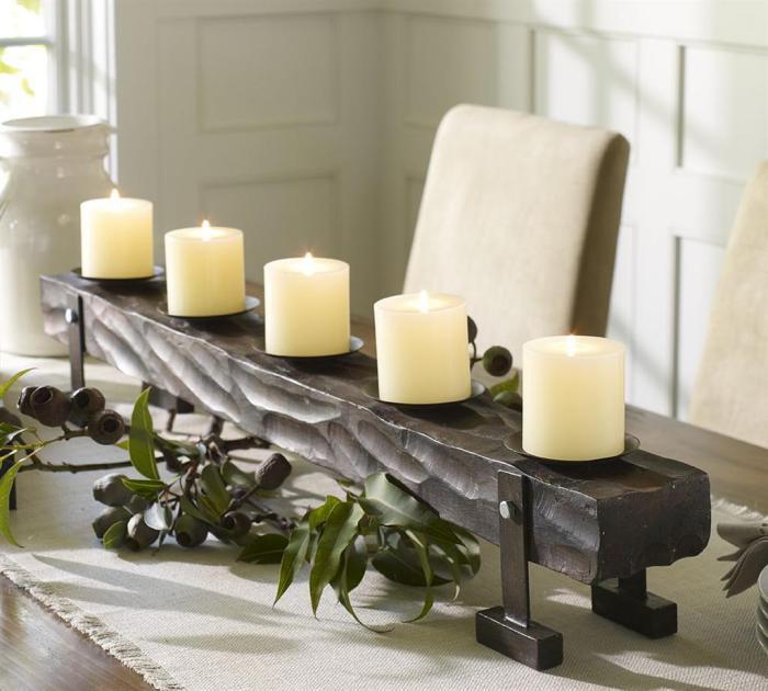 bougie-blanche-porte-bougies-avec-cinq-bougies-blanches