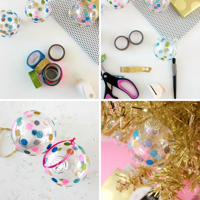 pas à pas comment décorer une boule de Noël en plastique avec washi tape doré, exemple de boule noel personnalisée