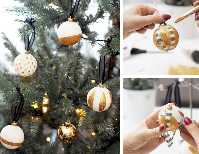 activité manuelle noel avec peinture dorée, comment décorer une boule de Noël blanche avec motifs en peinture dorée