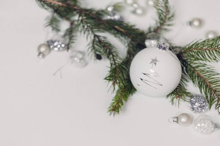 bricolage de noel de style scandinave, modèle jouet de sapin DIY de style minimaliste en forme de boule blanche avec dessin sapin argenté