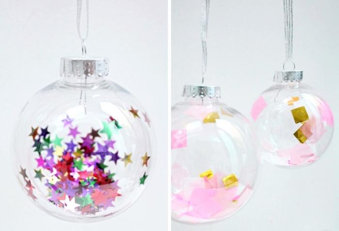 idée de decoration noel a faire soi meme, comment customiser une boule de Noël avec sequins et coupures de papier coloré