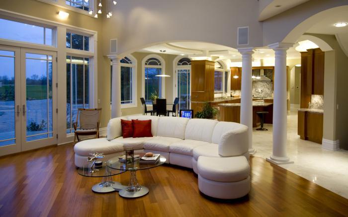 Int rieurs avec un canap arrondi un meuble pratique et d co - Interieur moderne inspirant piliers en beton ...