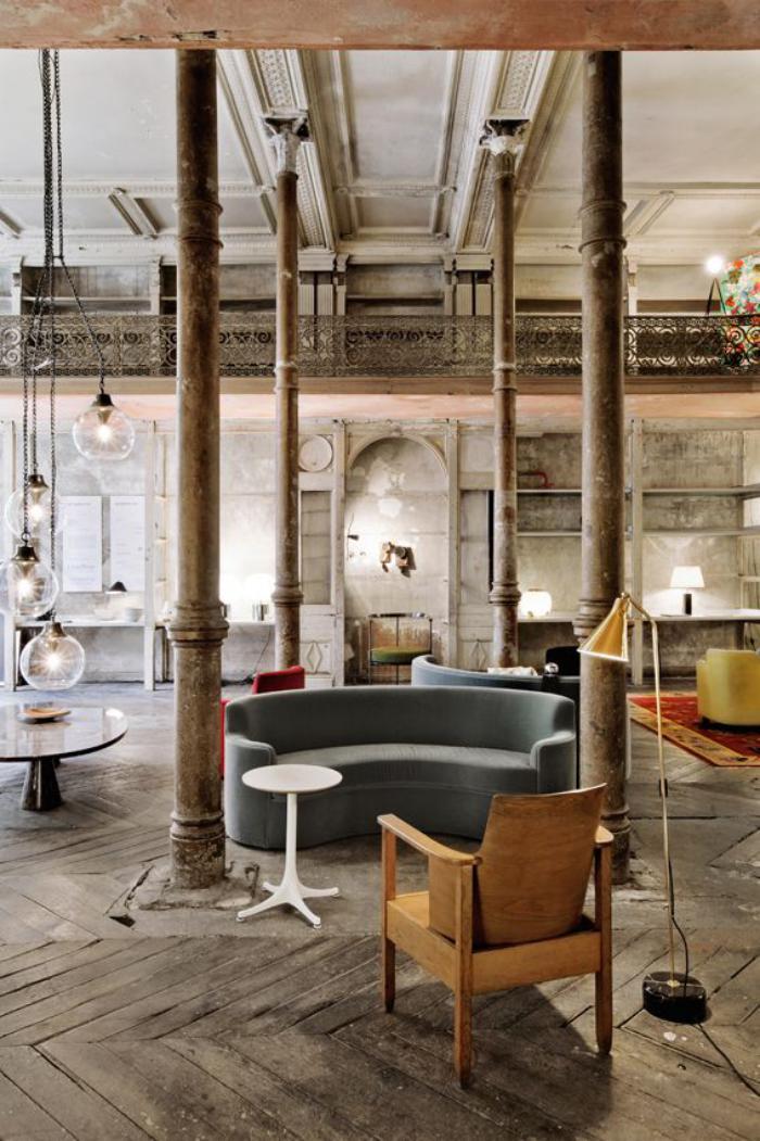 canapé-arrondi-loft-style-bohème-chic-sofa-gris-circulaire