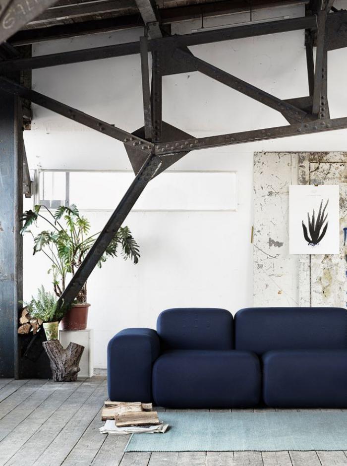 canapé-composable-bleu-décor-original