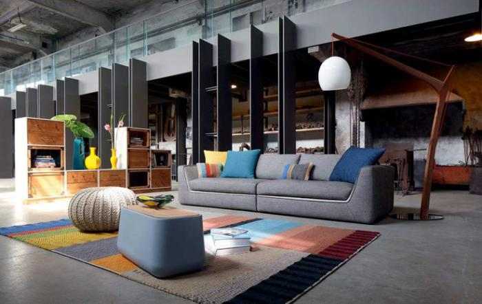 canapé-composable-grand-lampadaire-pouf-à-tricot