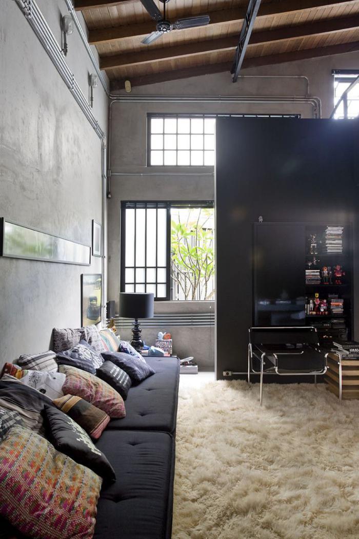 canapé-composable-grand-sofa-noir-composable-tapis-moelleux-beige