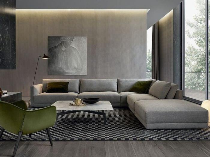 canapé-composable-tapis-graphique-grande-chaise-verte-art