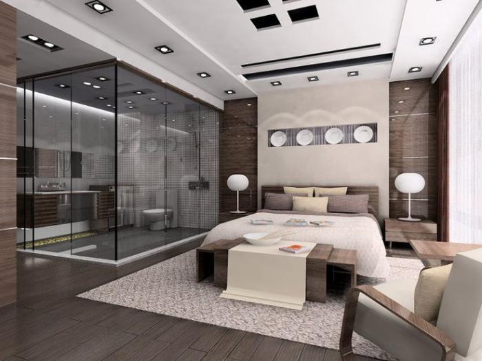 chambre-à-coucher-moderne-couleur-taupe-plus-cabine-de-douche