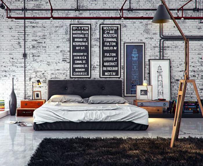 chambre-à-coucher-moderne-de-style-industriel