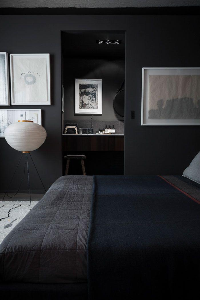 chambre-à-coucher-moderne-en-noir-avec-petit-office-de-travail