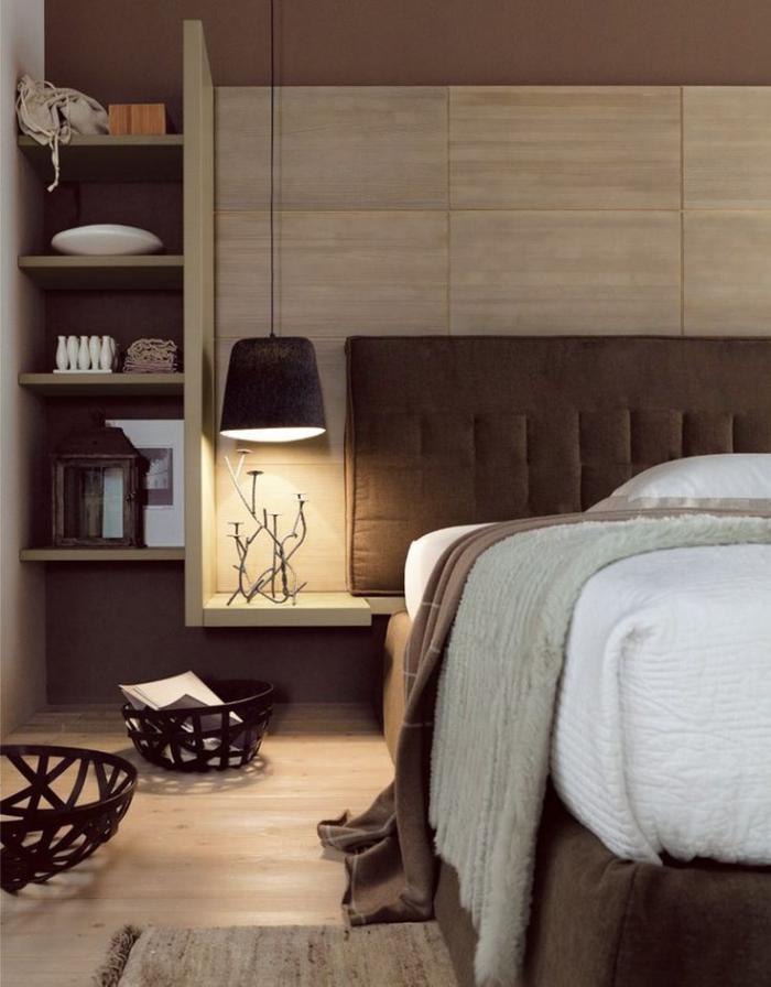 chambre-à-coucher-moderne-joli-intérieur-marron
