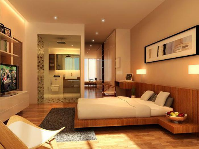 chambre-à-coucher-moderne-lit-flottant-plateforme-en-bois