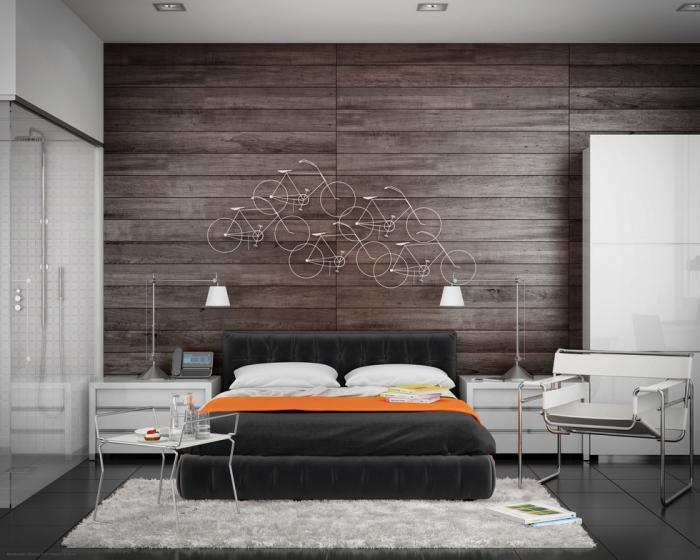 chambre-à-coucher-moderne-revêtement-mural-bois
