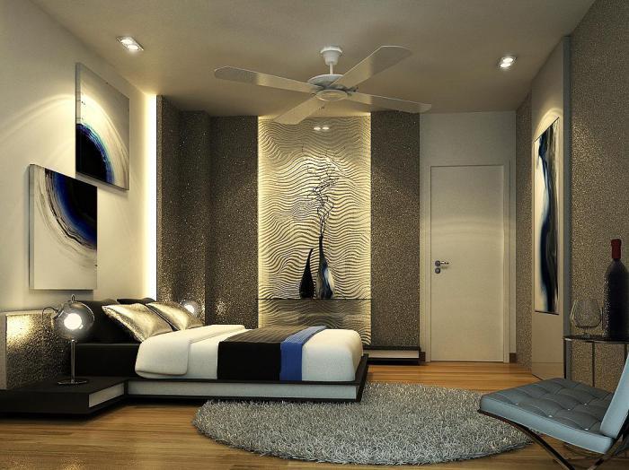 chambre-à-coucher-moderne-revêtement-mural-luisant