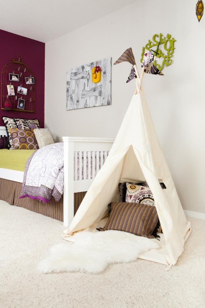 chambre-enfant-cool-idée-fabriquer-un-tipi-tente-tipi-enfant-lit-ado