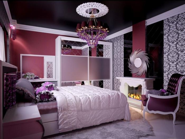 chambre-violette-contemporaine-jolie-petite-cheminée