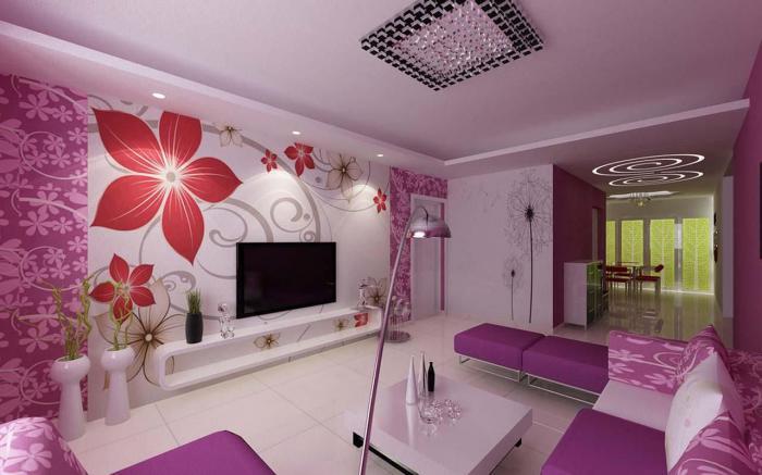 chambre-violette-salon-déco-coquet-table-basse-blanche