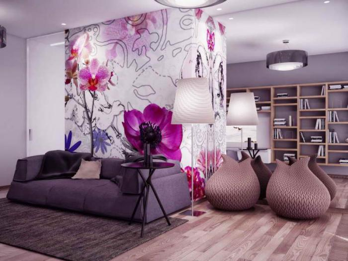 chambre-violette-salon-pourpre-et-étagère-minimaliste