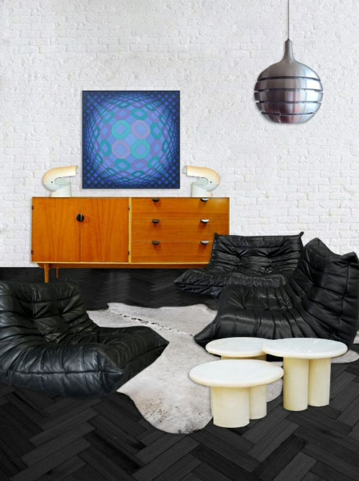 chauffeuse-conforama-en-cuir-noir-sol-en-parquet-noir-et-table-basse-de-salon-blanche