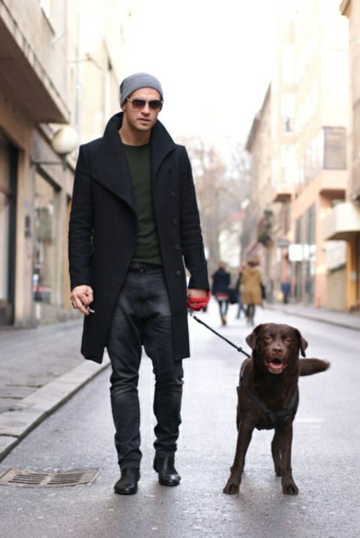 confort-en-hiver-manteaux-homme-veste-hiver-homme-et-le-chien