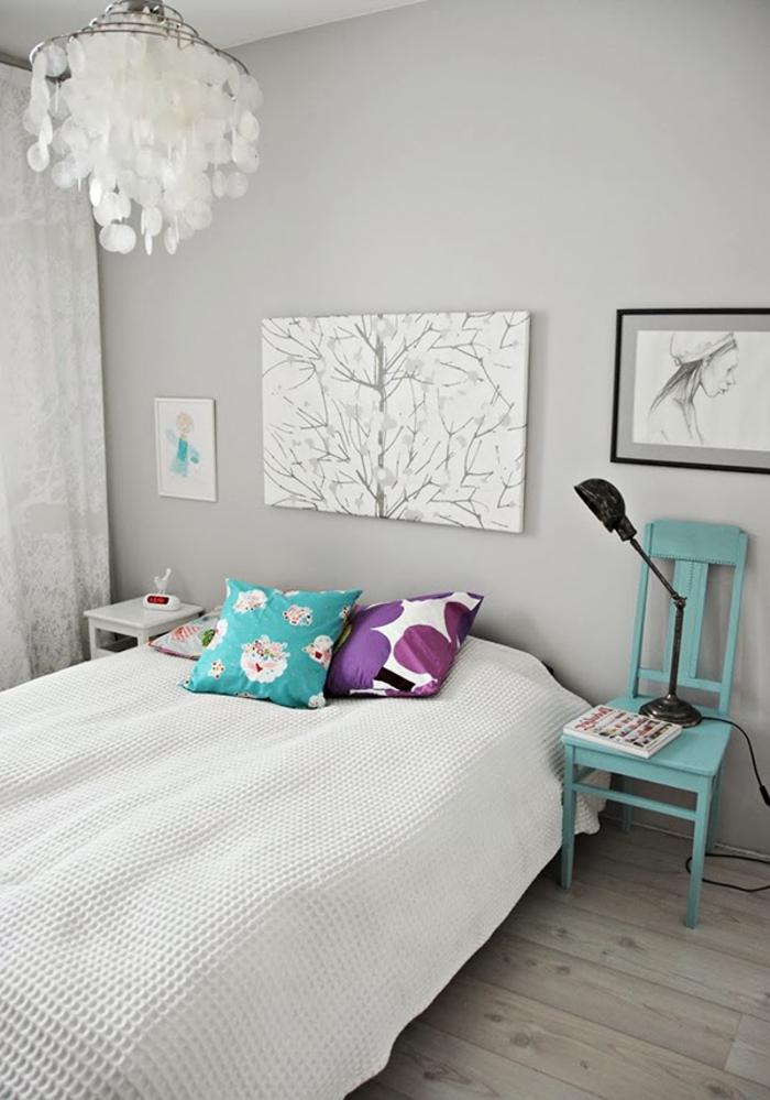 Idee Deco Chambre Adulte Gris #15: Couleur-chambre-adulte-en-gris-design-idée-décoration