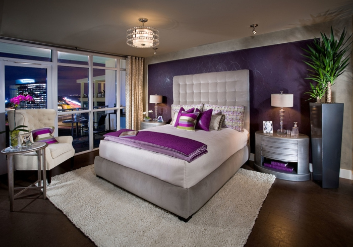 chambre gris perle et mauve avec des id es. Black Bedroom Furniture Sets. Home Design Ideas