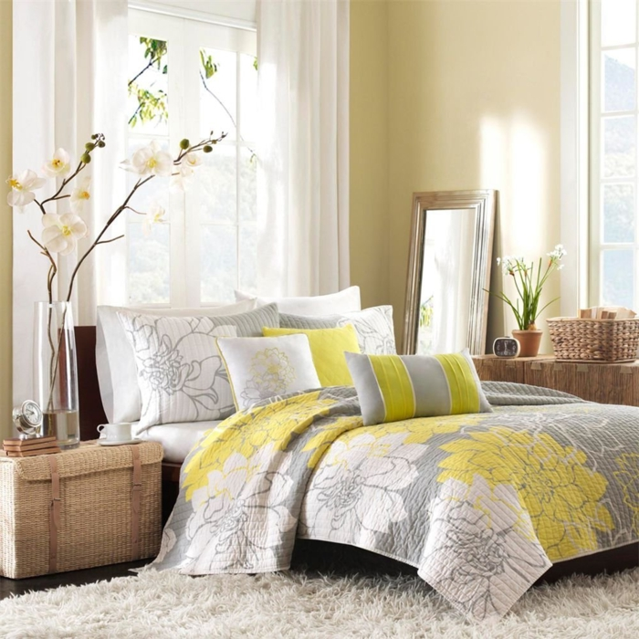 idee deco chambre jaune et gris. Black Bedroom Furniture Sets. Home Design Ideas