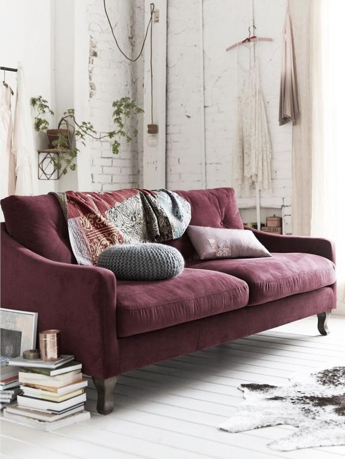 couleur-parme-violet-couleur-idées-déco-salon-contemporaine