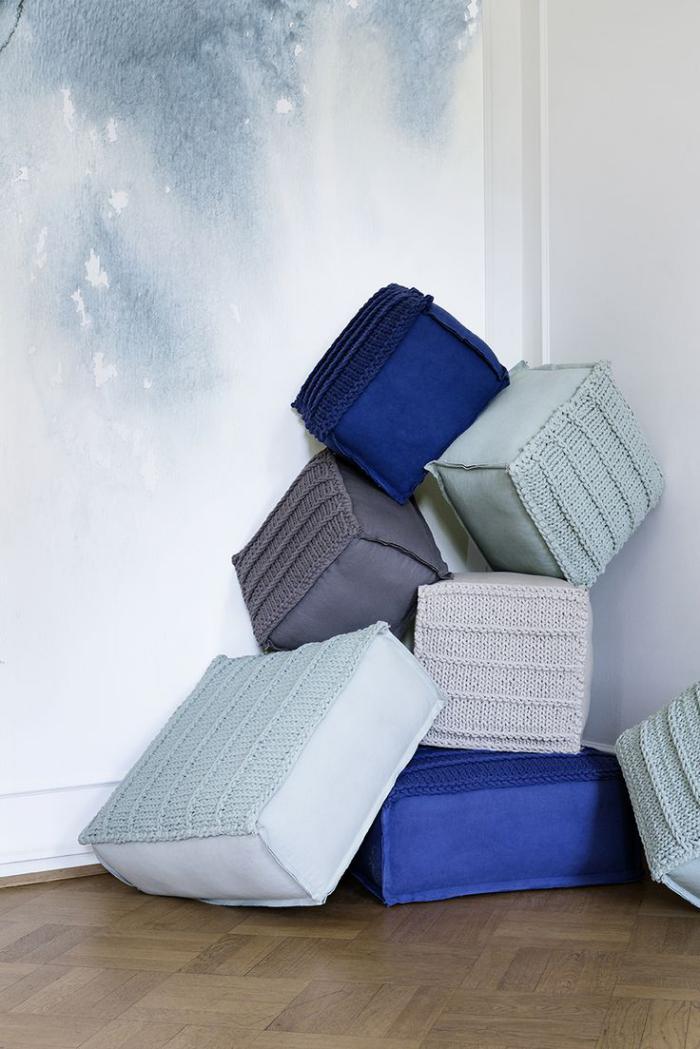 coussins-de-sol-cubiques-textile-et-tricot