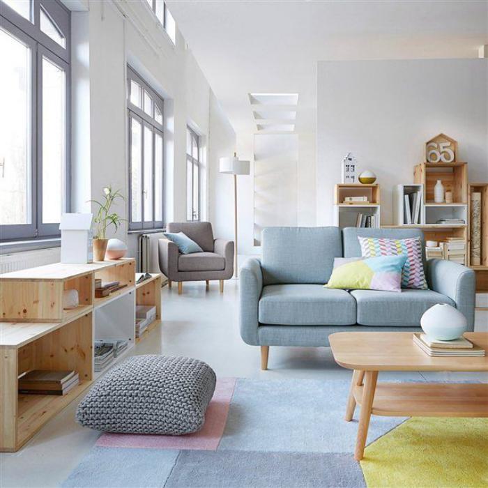 coussin de sol, intérieur scandinave en couleurs pastels et pouf ...