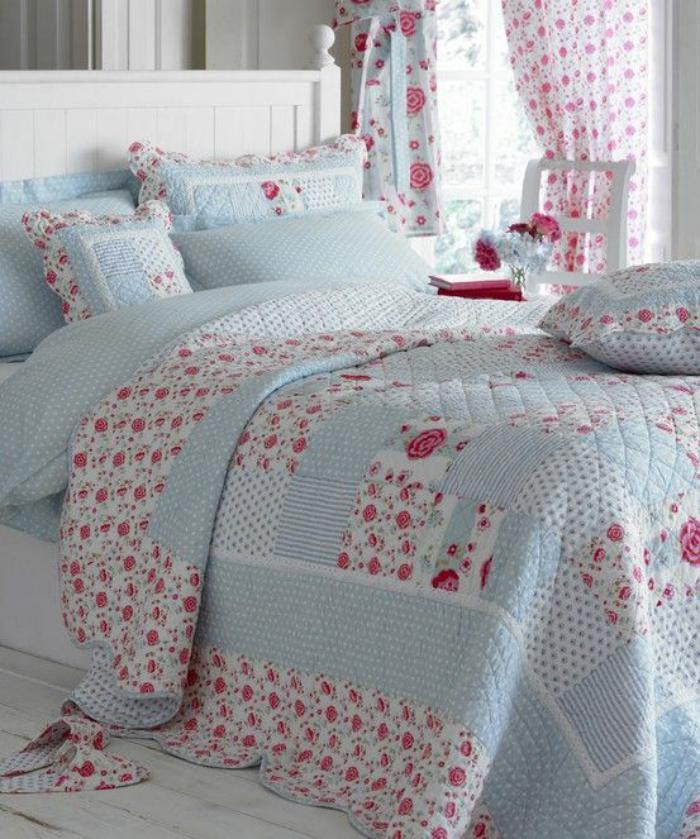 couverture-patchwork-chambre-à-coucher-féminine