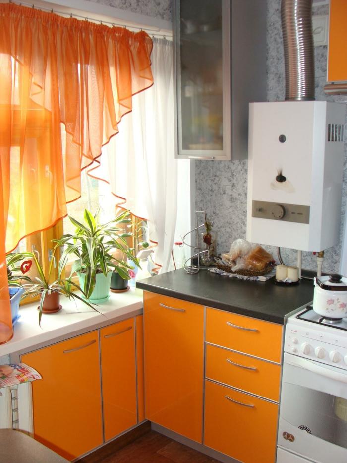 Les derni res tendances pour le meilleur rideau de cuisine for Cuisine orange