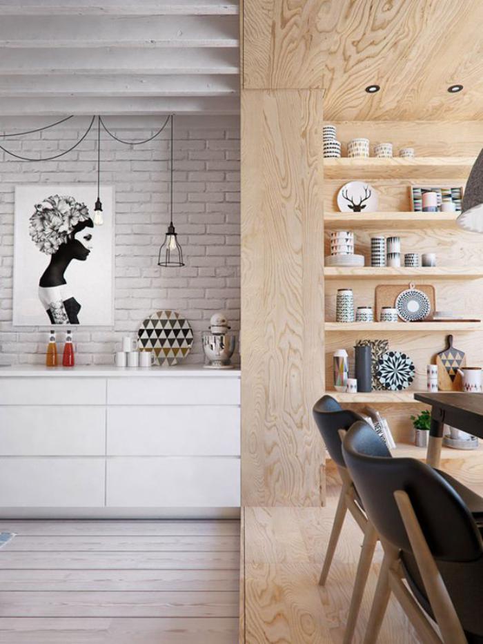 cuisine-scandinave-murs-briques-blanches-lampe-suspendue
