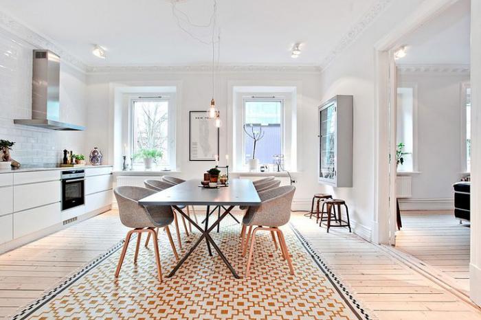 cuisine-scandinave-super-élégante-tapis-pâle-géométrique