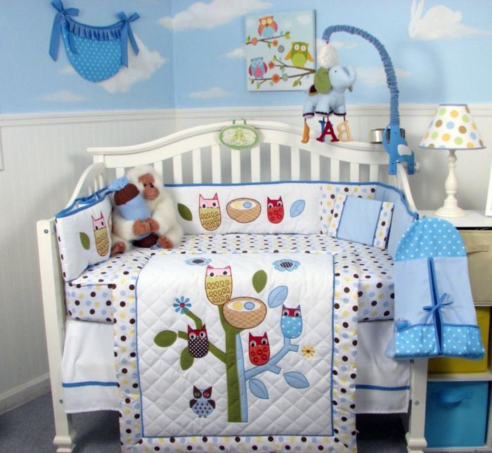 déco-chambre-bebe-lit-linge-de-lit-bébé-pas-cher-hibou