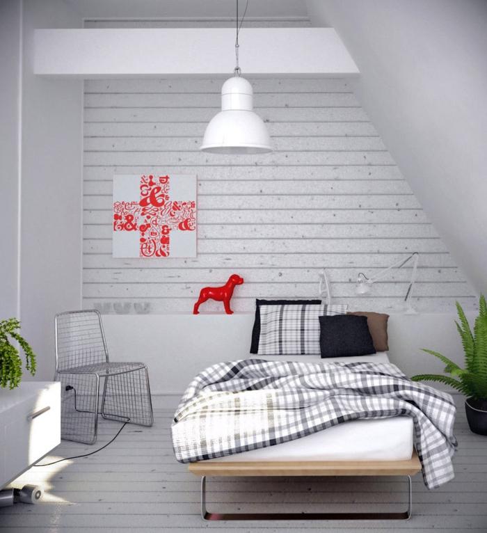 deco-chambre-grise-chambre-noir-et-blanc-la-chambre-gris-avec-détail-choc-couleur